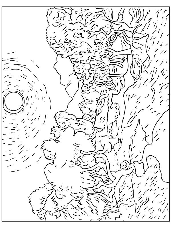 Free coloring and drawings Monet Impression rising sun Coloring page
