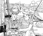 Free coloring and drawings Monet landscape to cut out Coloring page