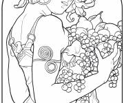 Free coloring and drawings Monet painting A woman bears fruit Coloring page