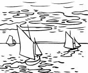 Free coloring and drawings Monet's painting on the river Coloring page