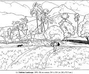 Free coloring and drawings Monet the field Coloring page