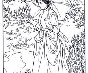 Free coloring and drawings Monet woman in the garden Coloring page