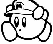Coloring pages Nintendo Kirby disguised as Mario