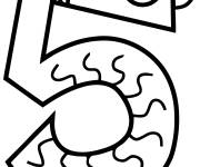 Coloring pages Number Five for children
