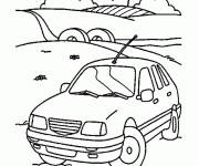 Free coloring and drawings Car in the countryside Coloring page
