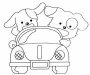 Coloring pages Dog car for children