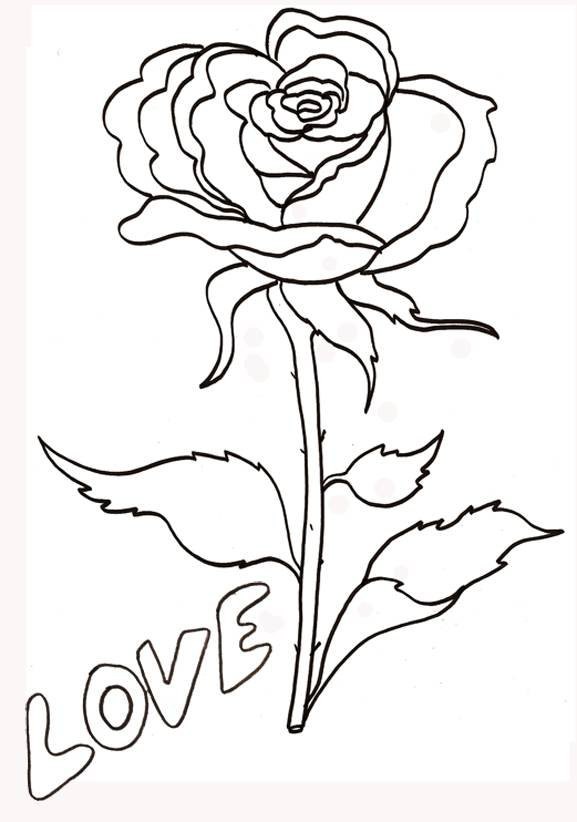 Free coloring and drawings A Flower symbol of love Coloring page