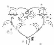 Coloring pages Adorable Rose and Heart