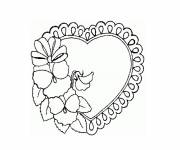 Coloring pages Heart and Rose to be colored