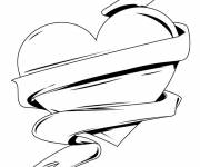 Coloring pages Rose and Heart in black and white
