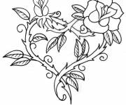 Coloring pages Rose and Heart in red