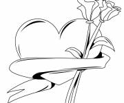 Coloring pages Rose and Heart in vector