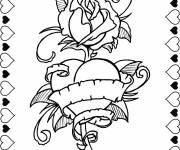 Coloring pages Rose and Heart to express Love
