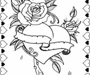 Coloring pages Rose and Heart Valentine's Day