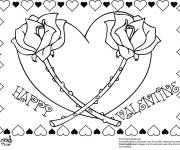 Coloring pages Two Roses and Magic Heart