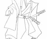 Coloring pages Japanese Samurai