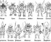 Coloring pages Samurai and Horoscope