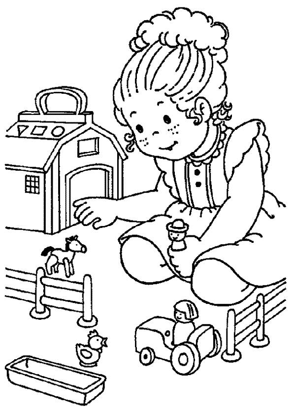 Free coloring and drawings A girl after class Coloring page