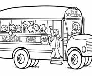 Free coloring and drawings All happy in school bus Coloring page