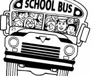 Free coloring and drawings School bus full of joy Coloring page