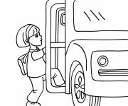 Free coloring and drawings Student rides school bus Coloring page