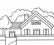 Free coloring and drawings Stylized school Coloring page