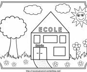 Free coloring and drawings the little school for children Coloring page