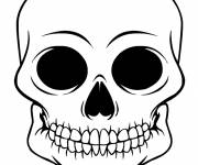 Coloring pages Black and white skull