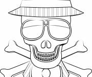 Coloring pages Death skull wearing a hat