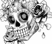 Coloring pages Mexican girl skull