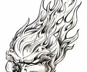 Coloring pages Skull and Flame