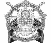 Coloring pages Skull and Pistol Decoration