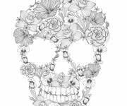 Coloring pages Skull decorated with flowers