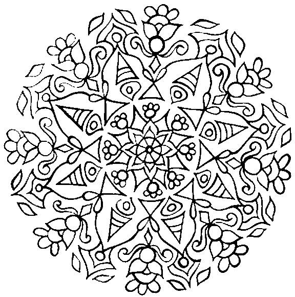 Free coloring and drawings Abstract difficult mandala Coloring page