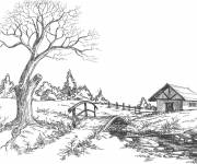 Free coloring and drawings Country landscape in pencil Coloring page