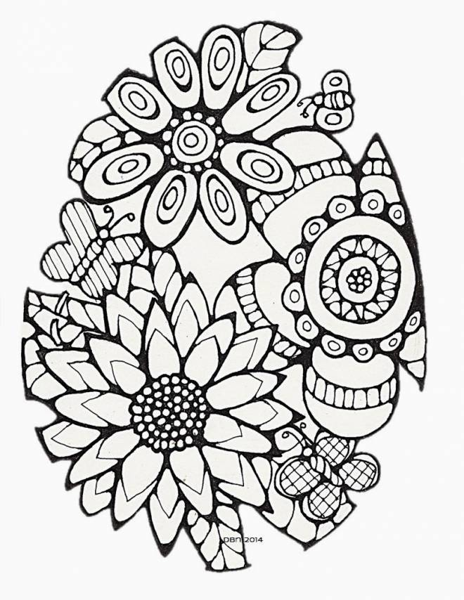 Free coloring and drawings Difficult Flowers Coloring page