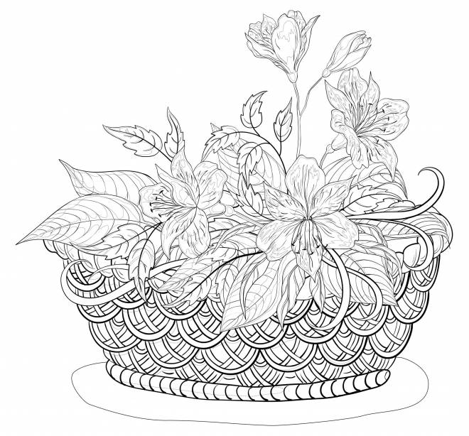 Free coloring and drawings Flowers basket for adults Coloring page