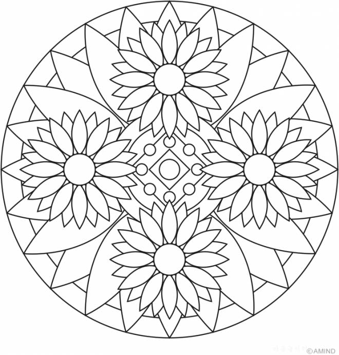 Free coloring and drawings Flowers Mandalas to relax Coloring page