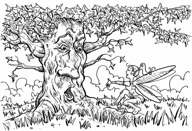Free coloring and drawings Old tree Coloring page