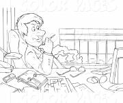 Coloring pages Relaxation on the desk