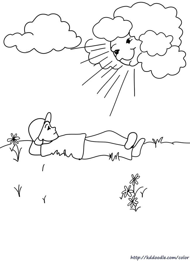 Free coloring and drawings Relaxation under the Sun Coloring page