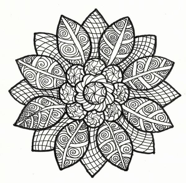 Free coloring and drawings Relaxing Flower Art Coloring page