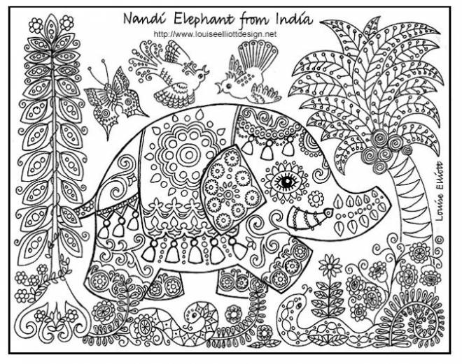 Free coloring and drawings Relaxing Indian Elephant Coloring page