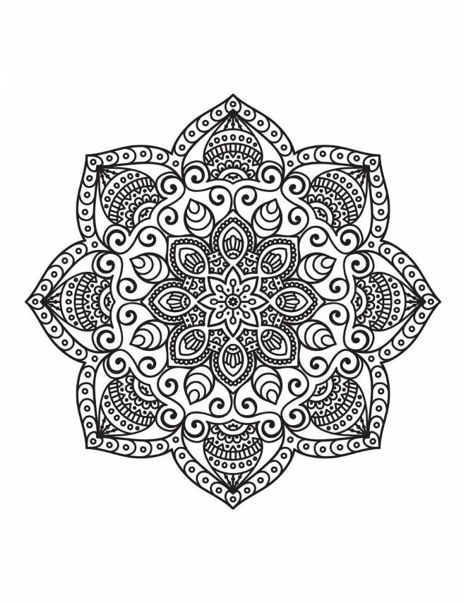 Free coloring and drawings Relaxing Mandala for decoration Coloring page