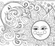 Coloring pages Relaxing Moon and Sun