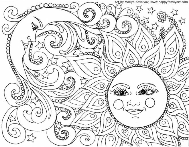 Free coloring and drawings Relaxing Moon and Sun Coloring page