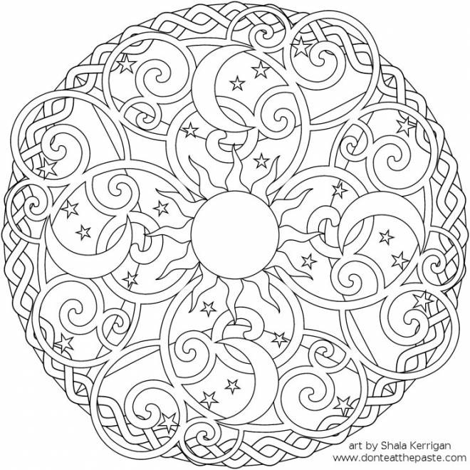 Free coloring and drawings Relaxing Stylized Mandala Coloring page