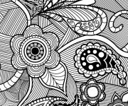 Coloring pages Stylized landscape in black and white