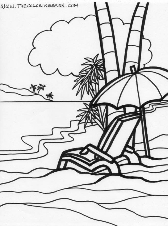 Free coloring and drawings The Relaxing Beach Coloring page