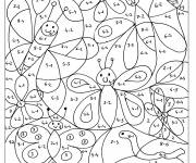 Coloring pages Magic Subtraction butterflies and flowers